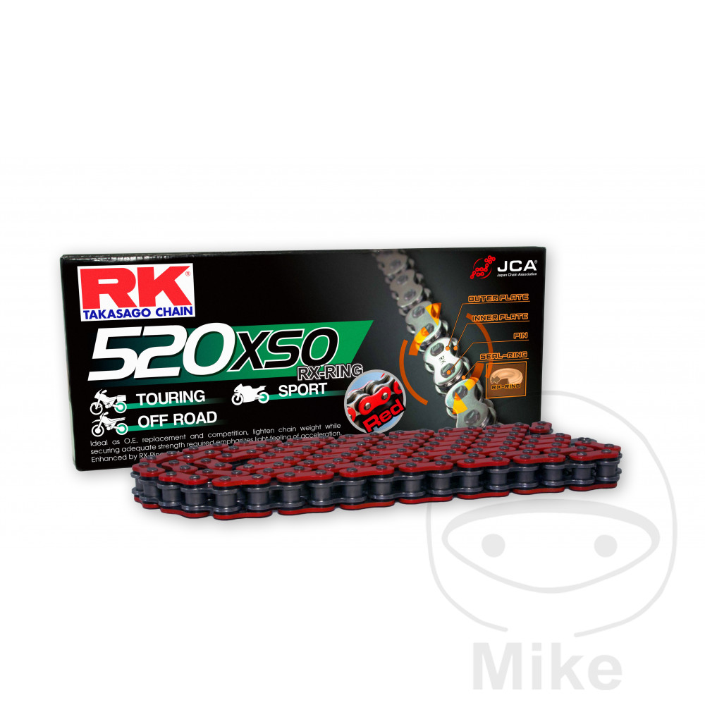 Rk X-Ring Chain Red 520Xso/112 Open Chain With Rivet Link For HM Moto 794.01.86