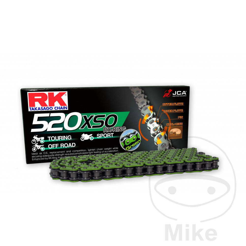 Rk X-Ring Chain Green 520Xso/110 Open Chain With Rivet Link  For KTM 794.01.74