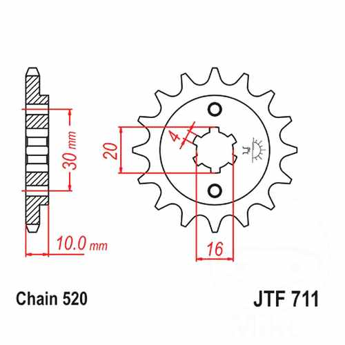 Front Sprocket 12 Tooth Pitch 520 Large Spline 4 MM 16/20  For Cagiva 726.01.64