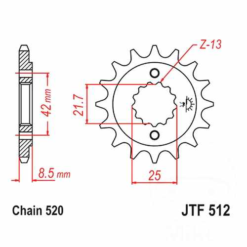Front Sprocket 14 Tooth Pitch 520 Narrow Spline 21.6/25  For Kawasaki 726.40.70