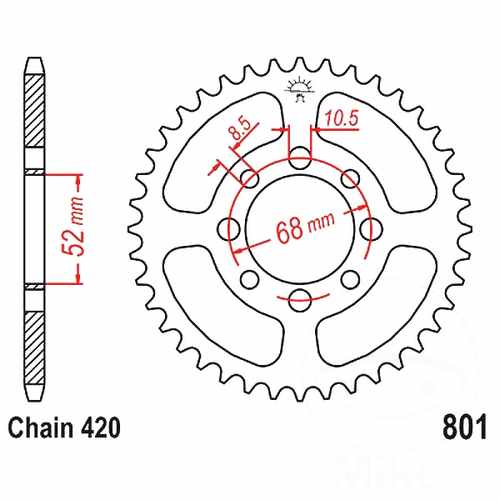 Rear Sprocket 42 Tooth Pitch 420 ID 052 Spacing 068  For Beta 727.02.80