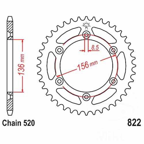 Rear Sprocket 44 Tooth Pitch 520 ID 136 Spacing 156  For Sherco 727.66.03