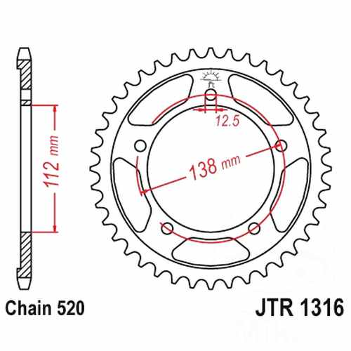 Rear Sprocket 41 Tooth Pitch 520 Silver ID 112 Spacing 138  For Honda 727.01.03